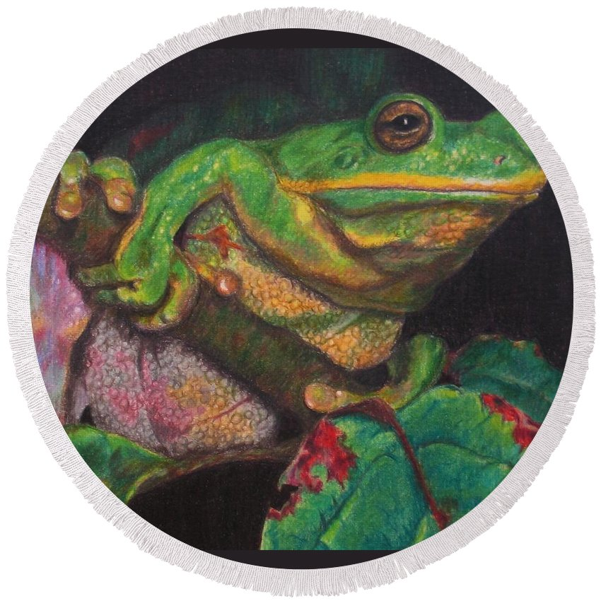 Frog Round Beach Towel featuring the painting Froggie by Karen Ilari
