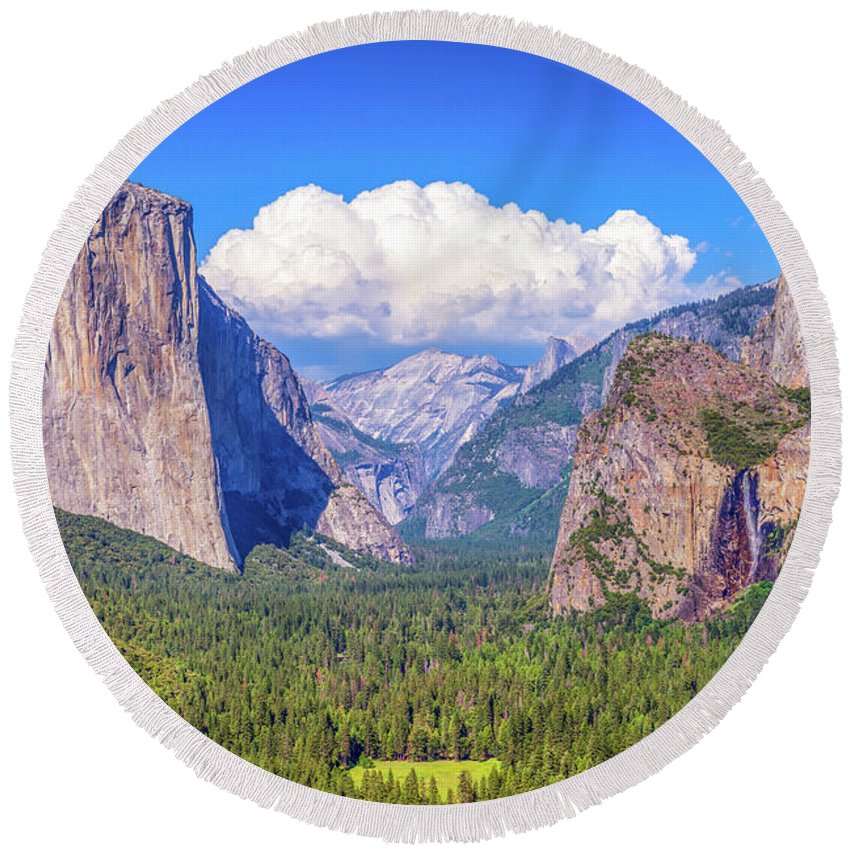 Yosemite Valley Round Beach Towel featuring the photograph From Artist Point by Joseph S Giacalone