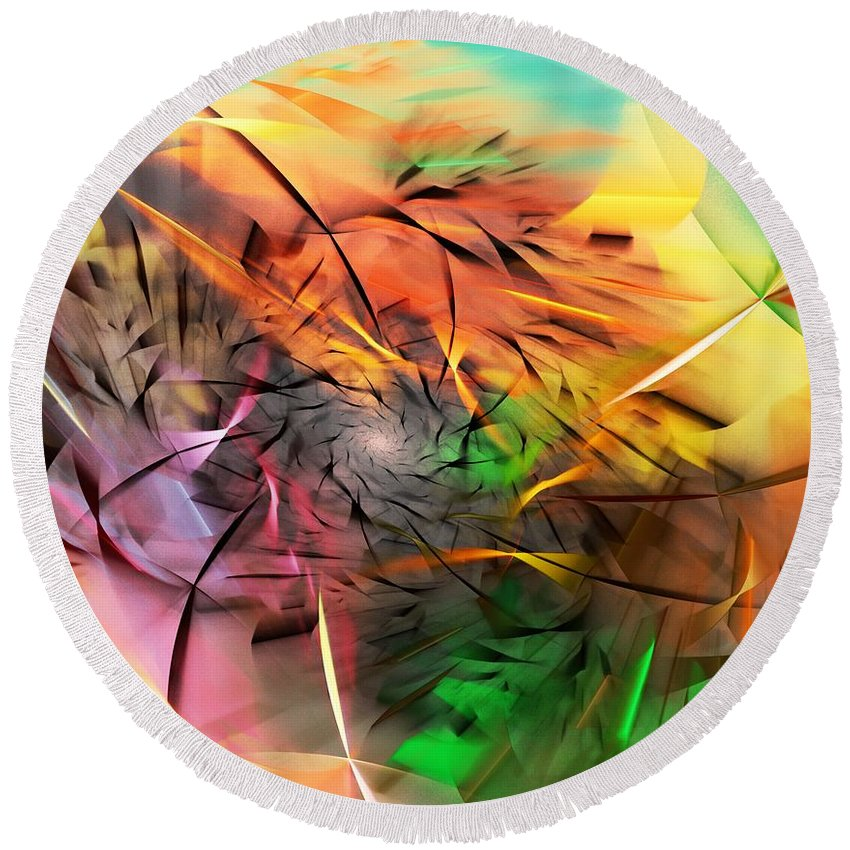 Digital Painting Round Beach Towel featuring the digital art From Both Sides Now by David Lane