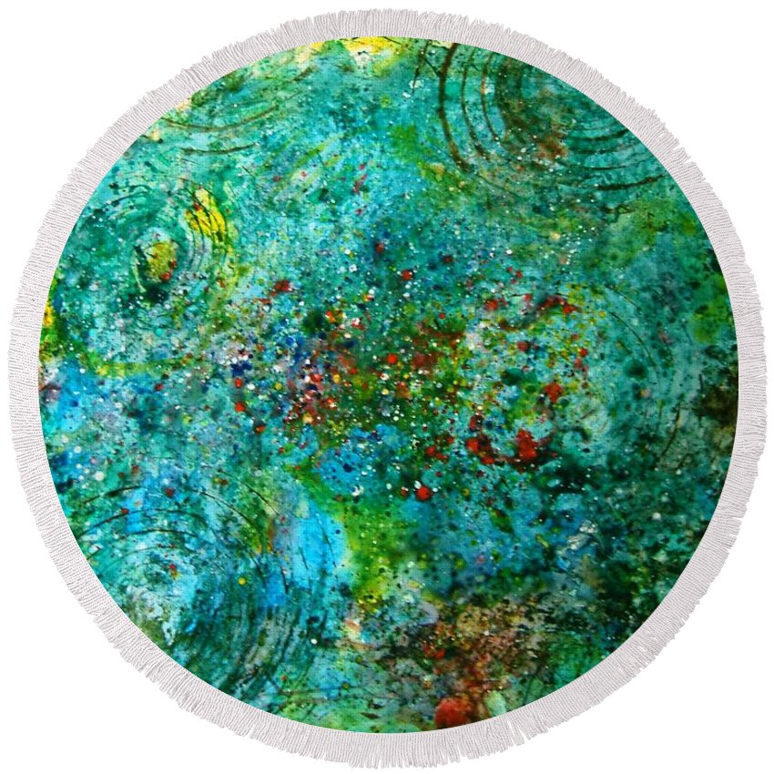 Abstract Yupo Paper Circles Green Red Yellow Blue Landscape Modern Pop Round Beach Towel featuring the photograph From Here To Eternity by Manjiri Kanvinde