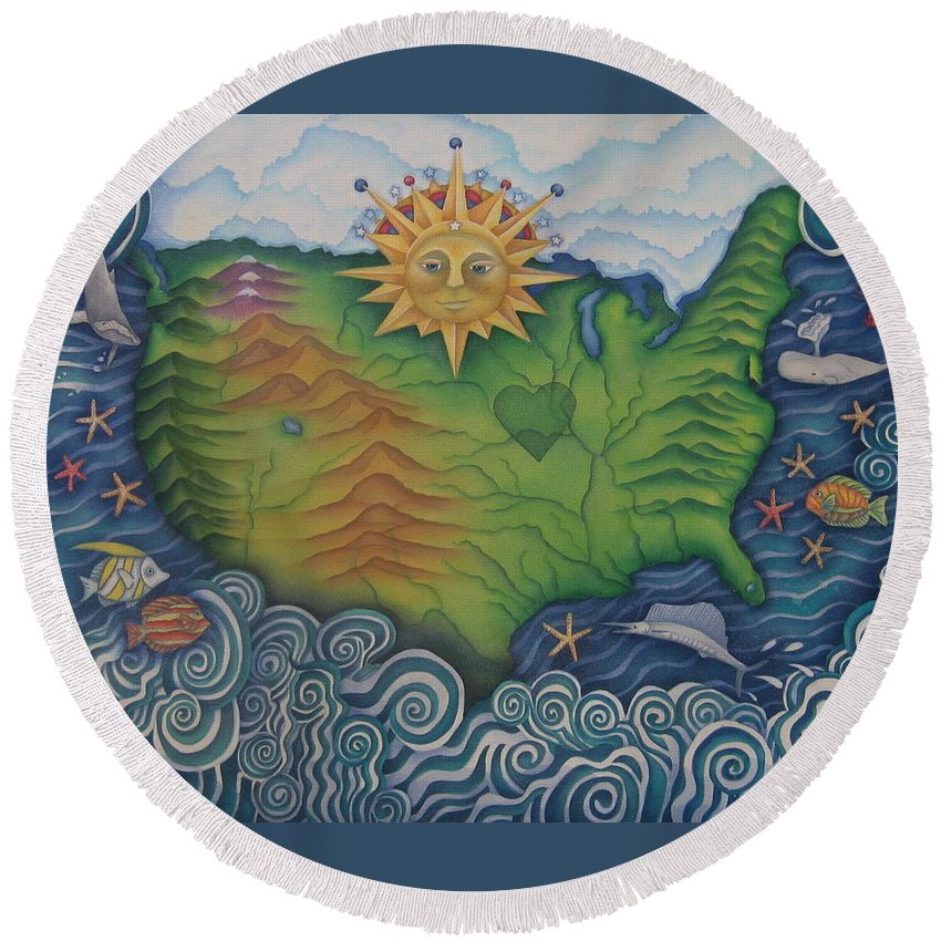 Map Round Beach Towel featuring the painting From Sea To Shining Sea by Jeniffer Stapher-Thomas