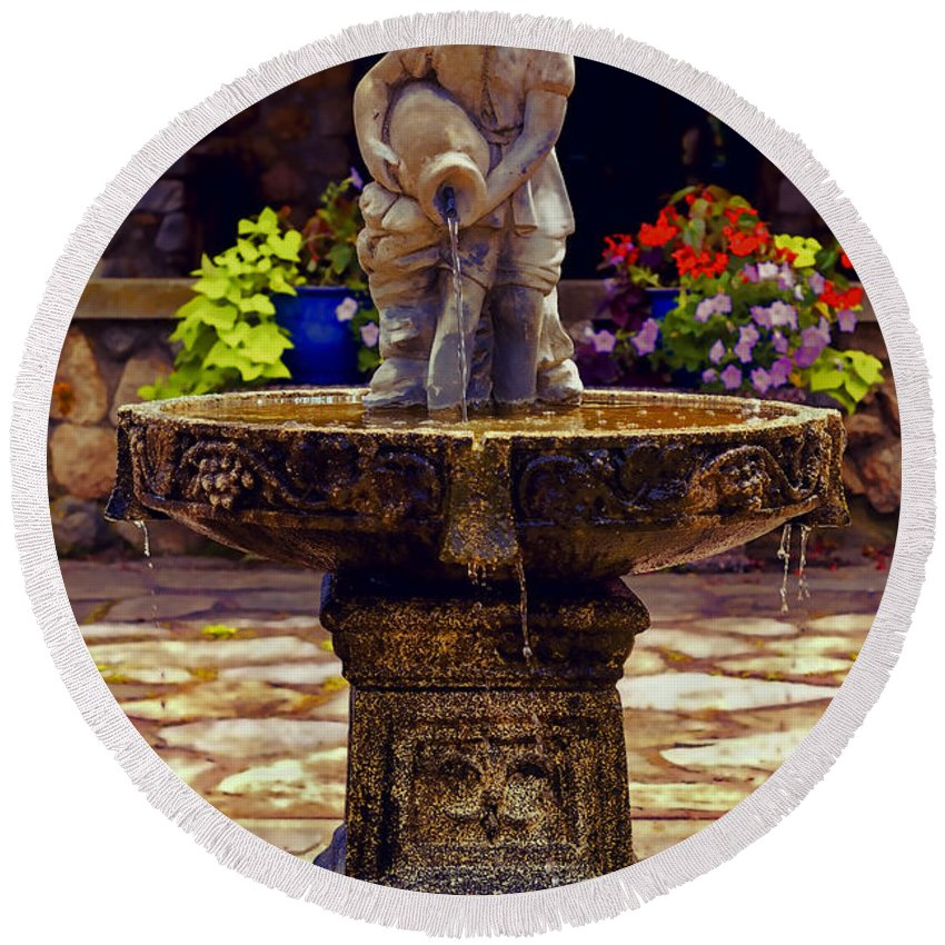 Fountain Round Beach Towel featuring the photograph From The Fountain by Joe Geraci