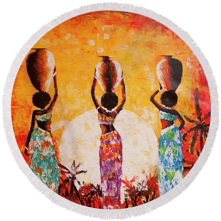 African Art Round Beach Towel featuring the painting From The River by Jethro Longwe