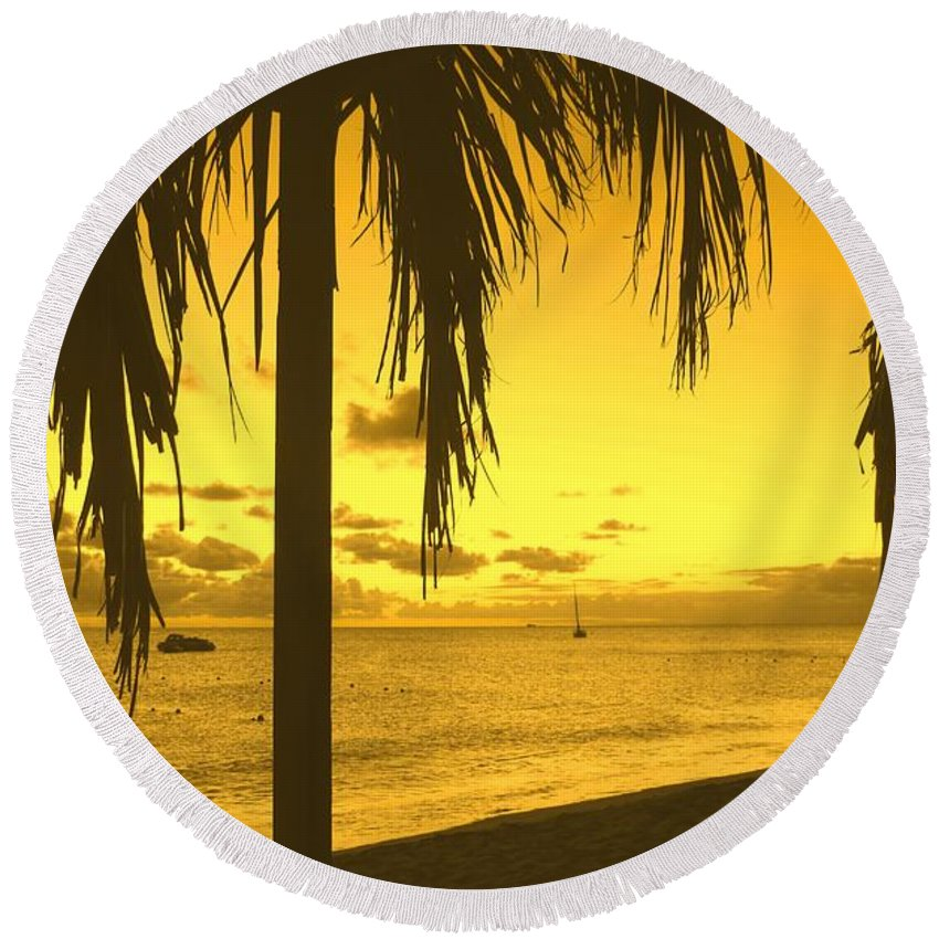 Sunset Round Beach Towel featuring the photograph From The Shiggady Shack by Ian MacDonald