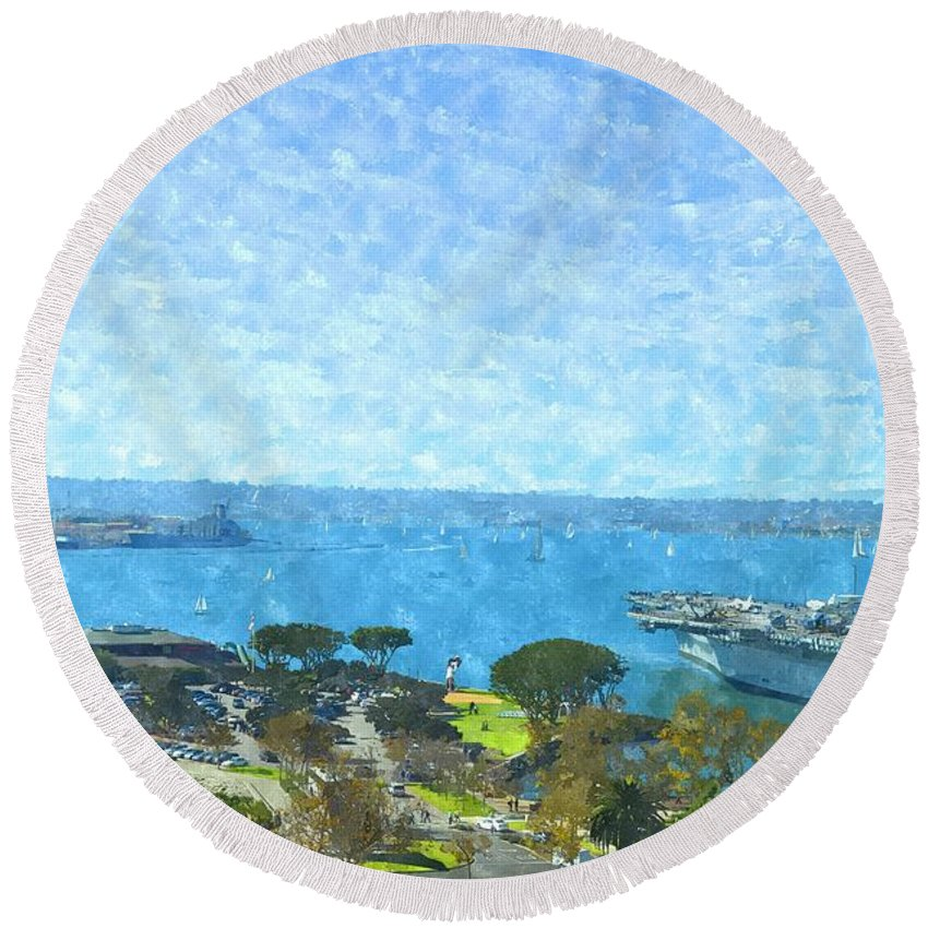 San Diego Round Beach Towel featuring the photograph From The Shore by Image Takers Photography LLC - Carol Haddon