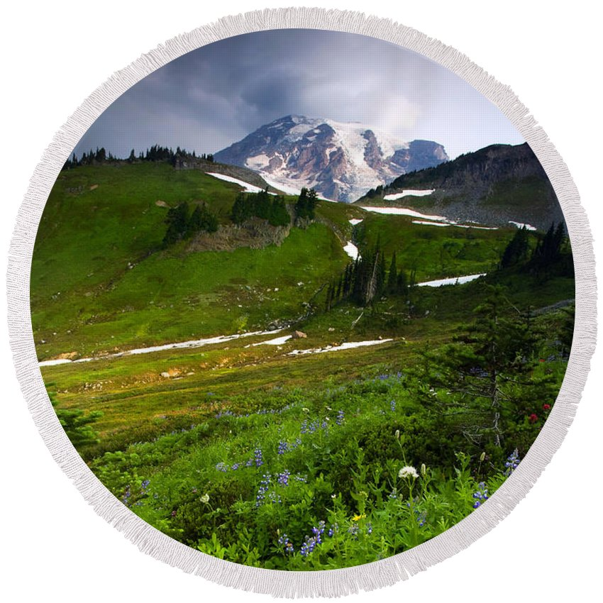 Rainier Round Beach Towel featuring the photograph From The Top by Mike Dawson