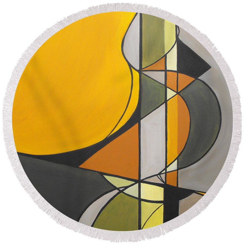 ruth Palmer Abstract Geometric Painting Acrylic Black Grey Green Orange Round Beach Towel featuring the painting From Time To Time by Ruth Palmer