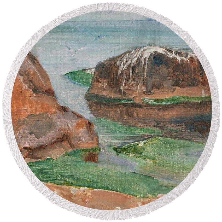 Venny Soldan-brofeldt Round Beach Towel featuring the painting From Tvarminne by MotionAge Designs