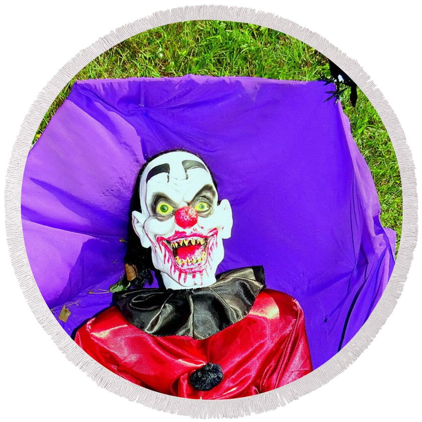 Halloween Round Beach Towel featuring the photograph Front Lawn Funeral by Ed Weidman