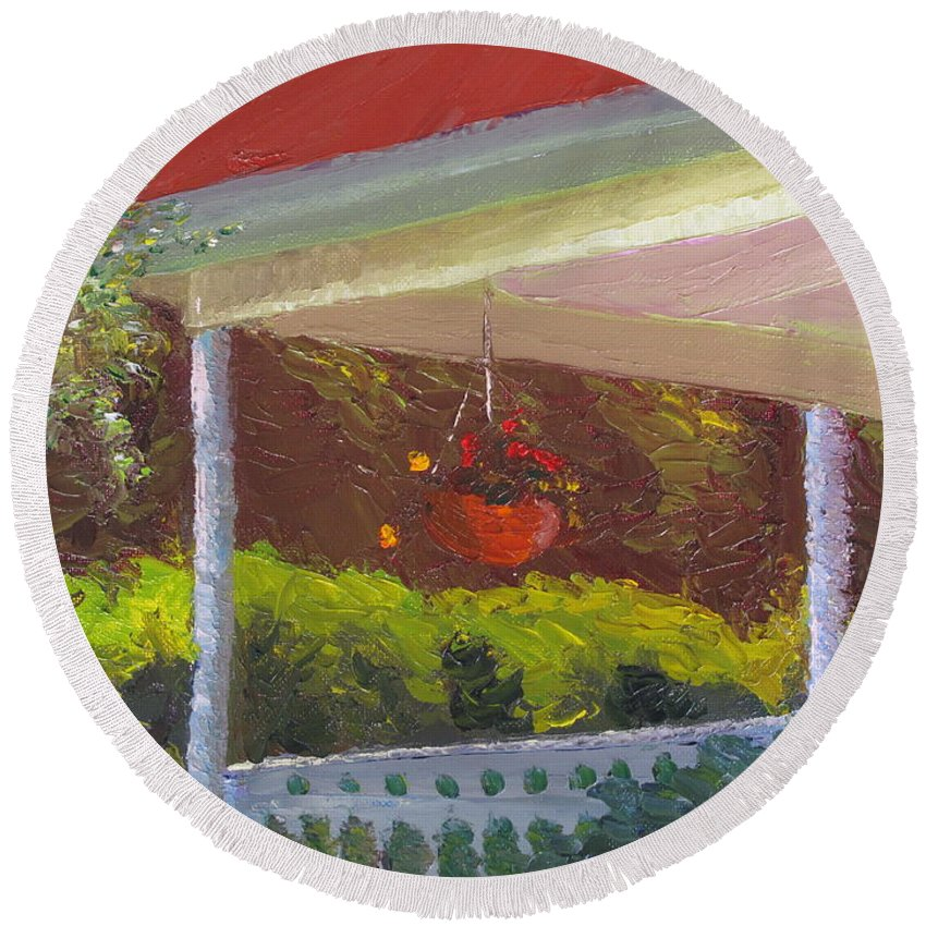 Landscape Painting Round Beach Towel featuring the painting Front Porch - Morning by Lea Novak