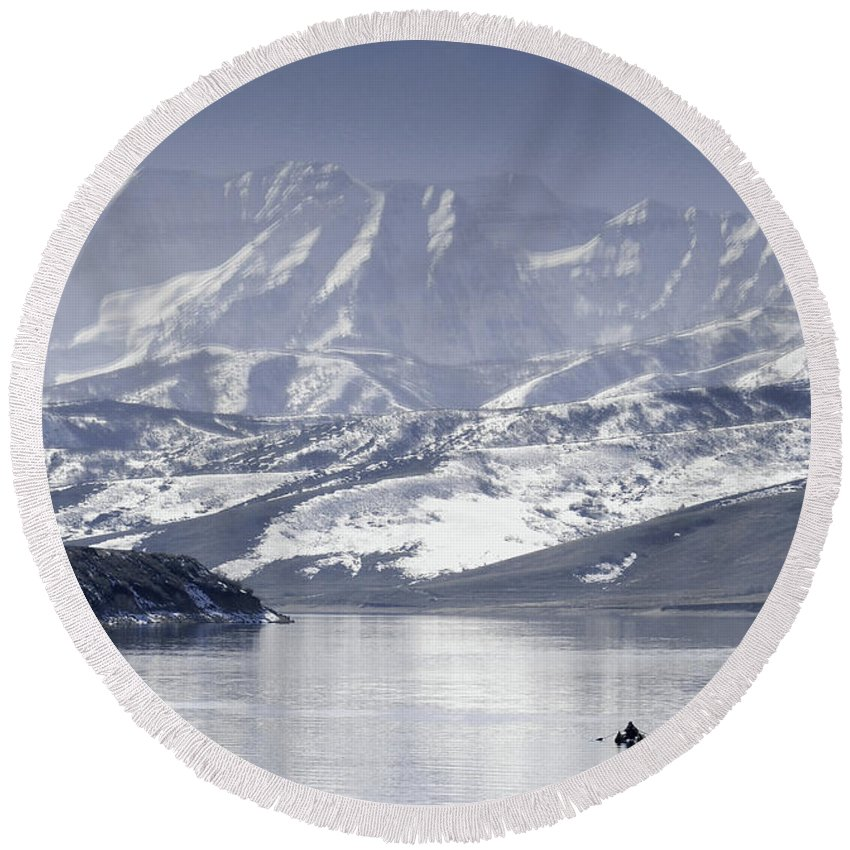 Mountains Round Beach Towel featuring the photograph Frosted Mountains by Scott Sawyer