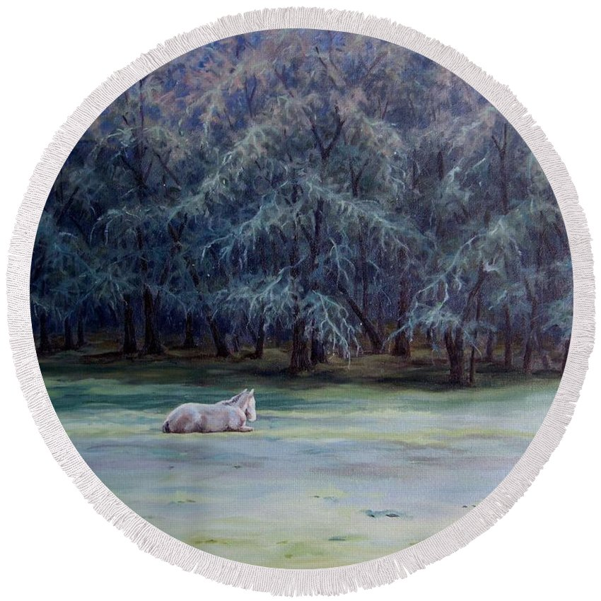 Horse Oil Painting Round Beach Towel featuring the painting Frosty Morning by Cynthia Riley
