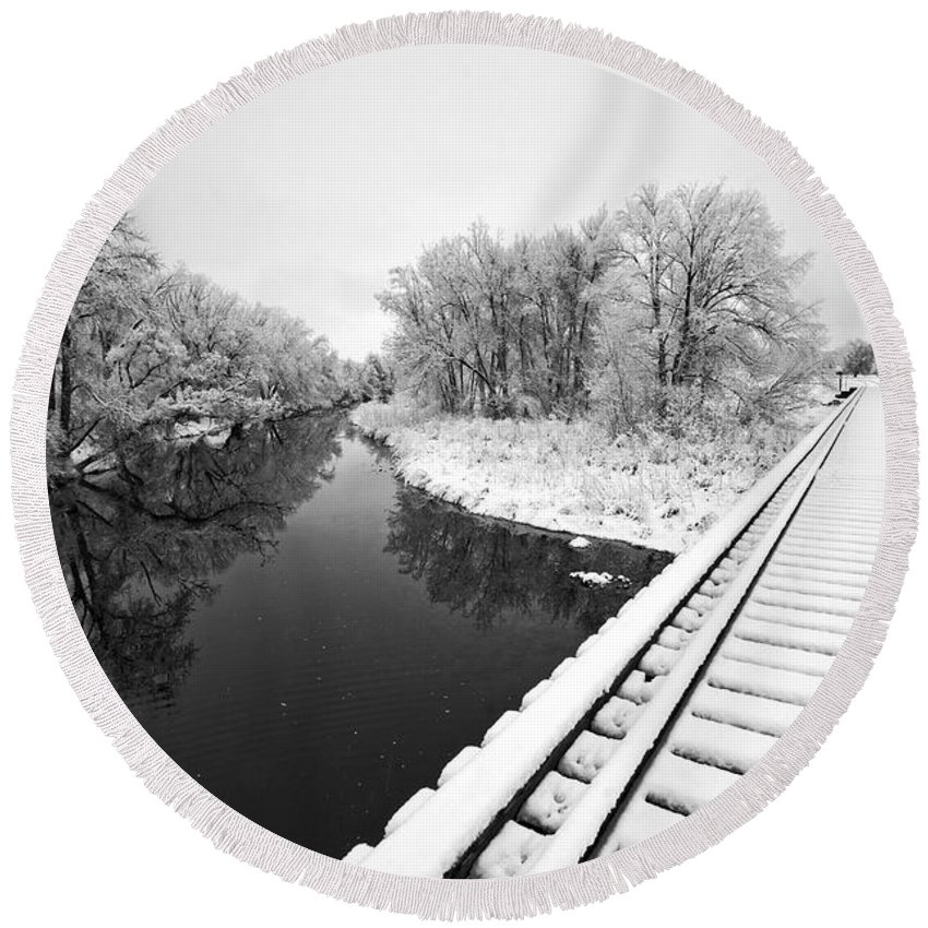 Fine Art Black And White Photography. Black And White Snow Photography.black And White Greeting Cards. Black And White Train Tracks Greeting Cards. Train Tracks In The Snow.black And White Infrared Photography. Black And White Photography. Round Beach Towel featuring the photograph Frosty Morning On The Poudre by James Steele