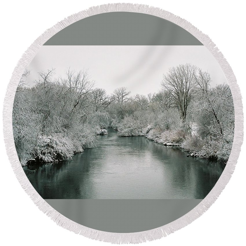 Frost Round Beach Towel featuring the photograph Frosty River by Lauri Novak