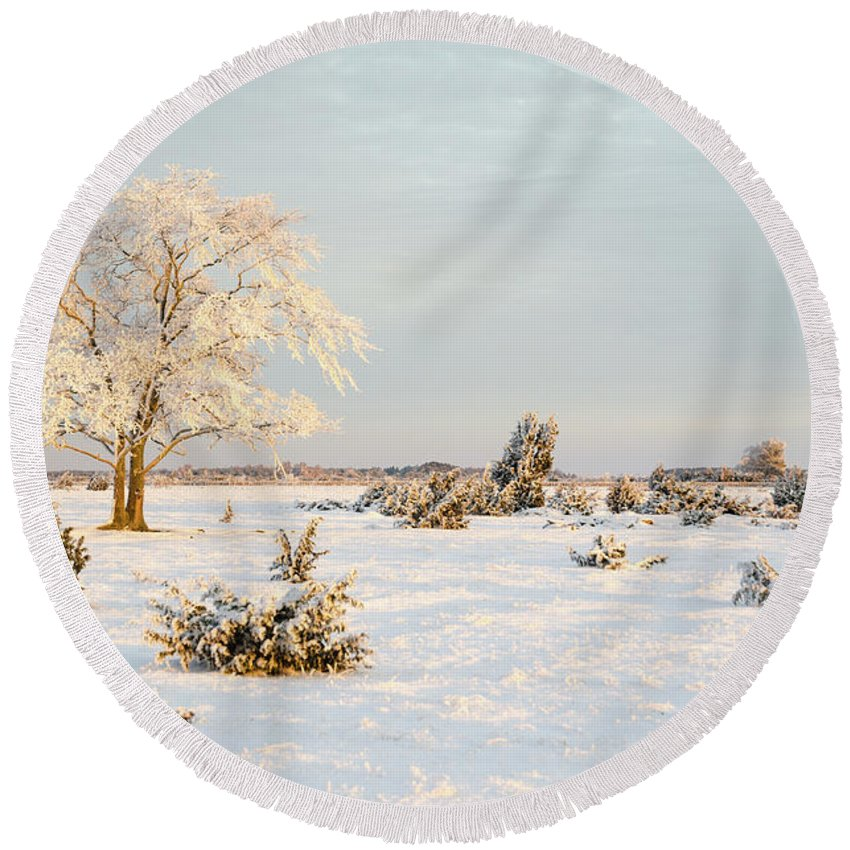 Alone Round Beach Towel featuring the photograph Frosty Solitude Tree In The First Morning Sunshine by Kennerth and Birgitta Kullman
