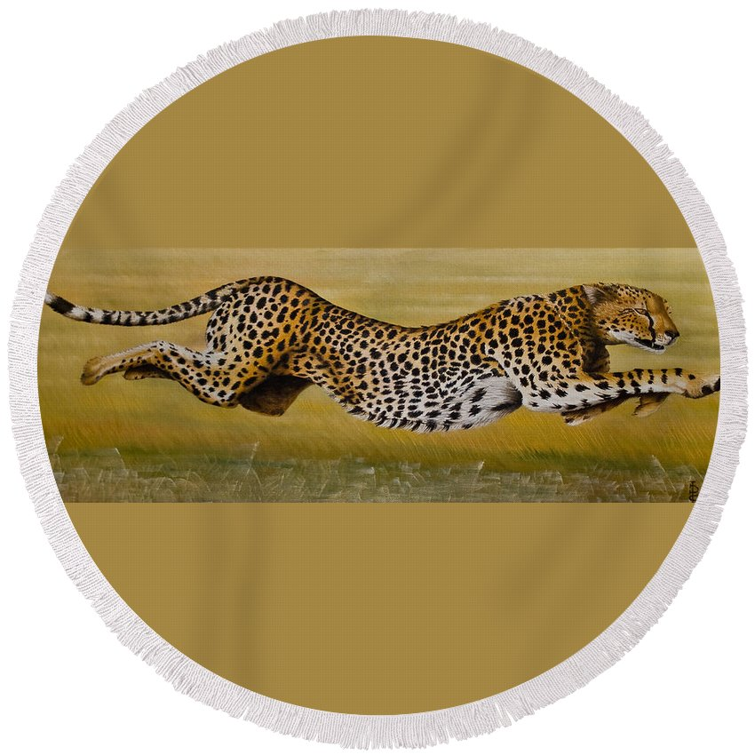 Cheetah Flying Run Speed Stretch Chase Round Beach Towel featuring the painting Frozen At Full Charge by Pauline Sharp