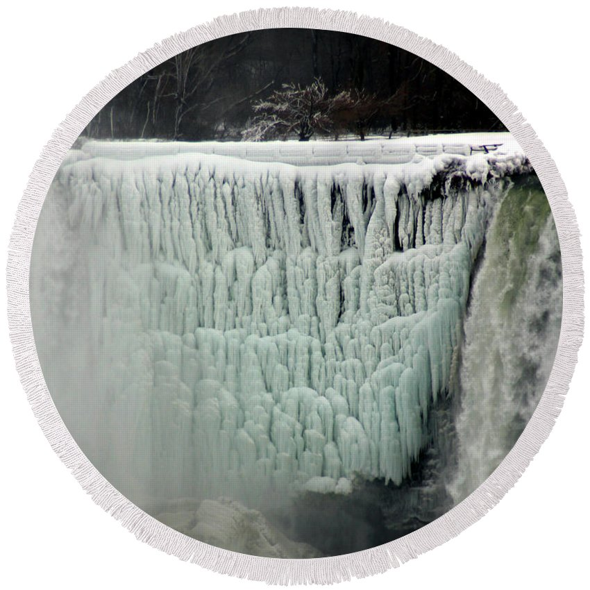 Landscape Round Beach Towel featuring the photograph Frozen Falls by Anthony Jones