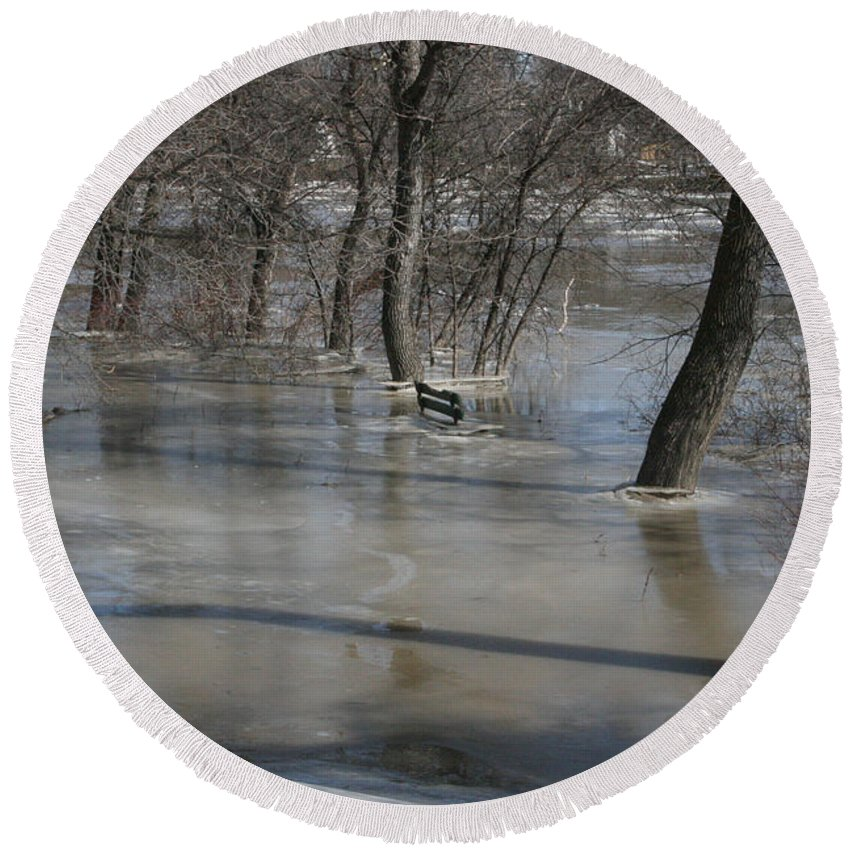 Spring Round Beach Towel featuring the photograph Frozen Floodwaters by Mary Mikawoz