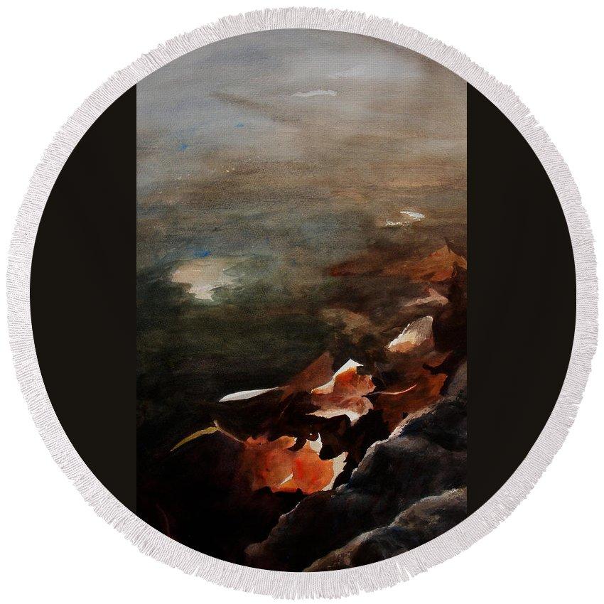 Landscape Round Beach Towel featuring the painting Frozen Memories by Rachel Christine Nowicki