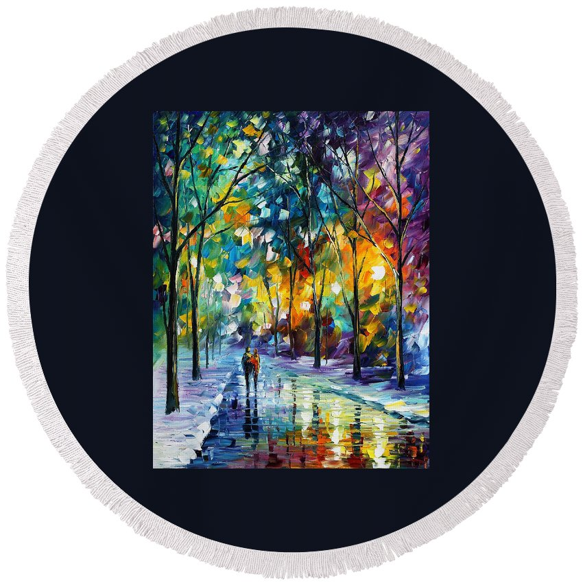 Afremov Round Beach Towel featuring the painting Frozen Night by Leonid Afremov