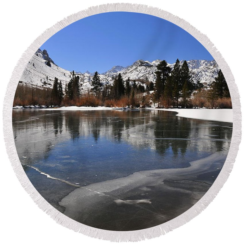 Landscape Round Beach Towel featuring the photograph Frozen Sierra Lake by Duane Middlebusher