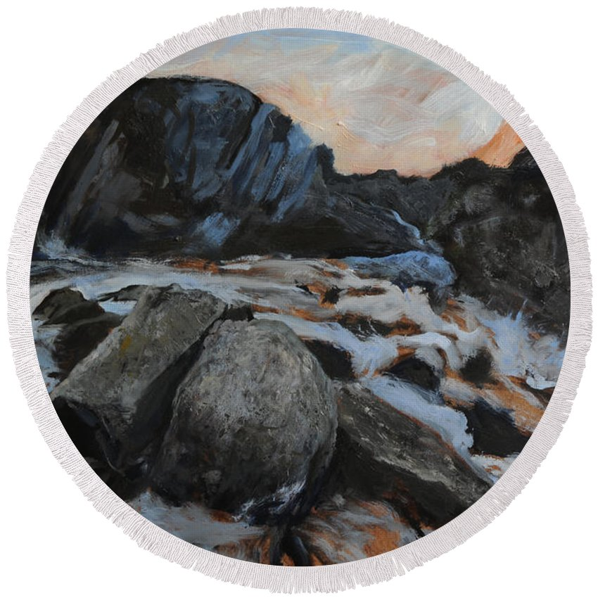Landscape Round Beach Towel featuring the painting Frozen Waterfall by Harry Robertson