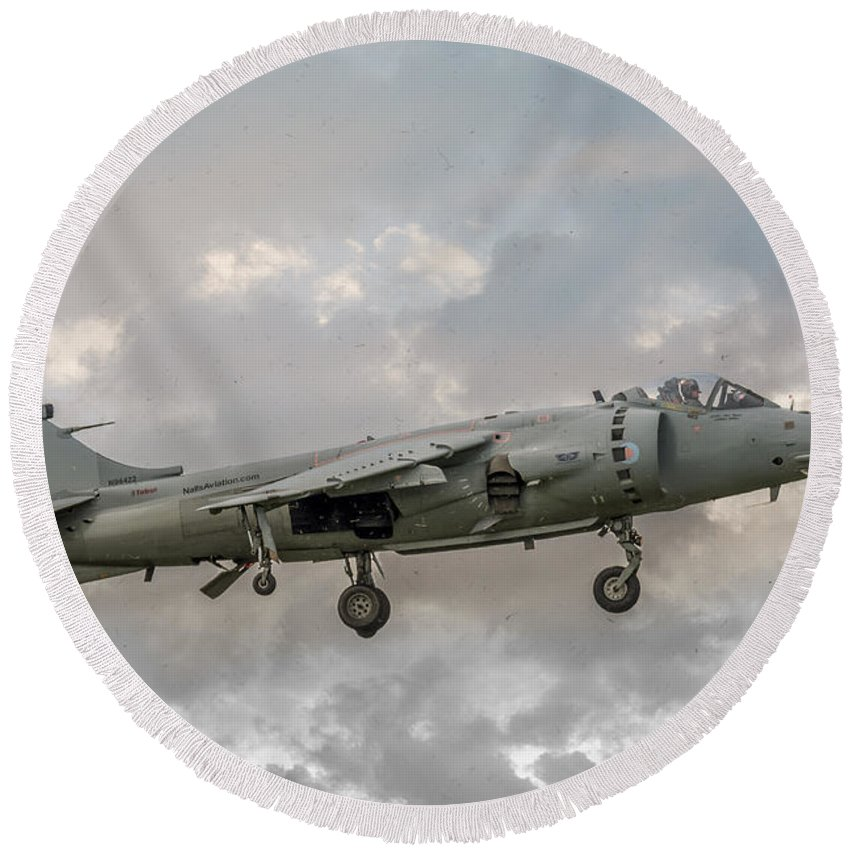 Aviation Round Beach Towel featuring the photograph Frs1 Sea Harrier On Vertical Approach by Guy Whiteley