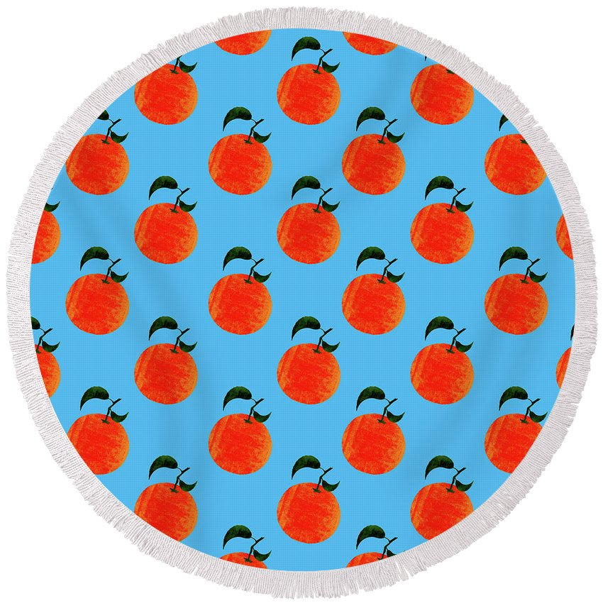 Orange Round Beach Towel featuring the digital art Fruit 01_orange_pattern by Bobbi Freelance