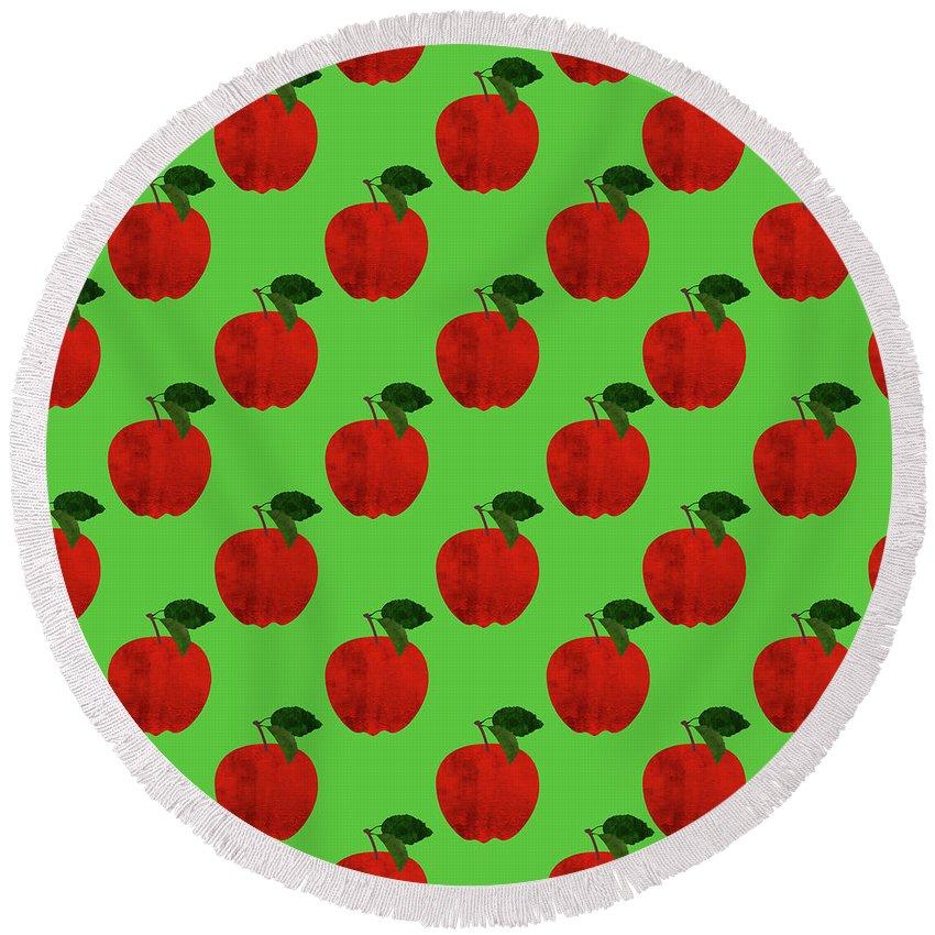 Apple Round Beach Towel featuring the digital art Fruit 02_apple_pattern by Bobbi Freelance