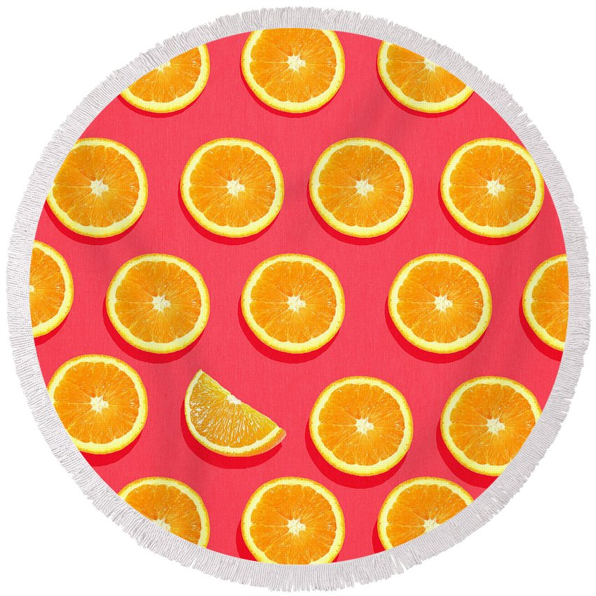 Abstract Round Beach Towel featuring the painting Fruit 2 by Mark Ashkenazi