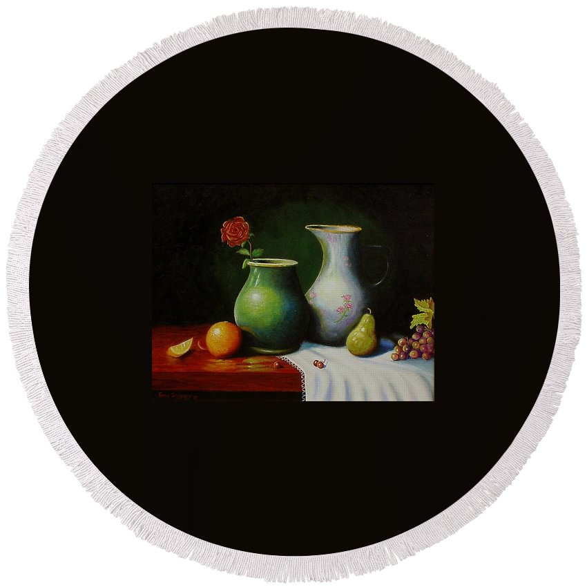 Still Life Round Beach Towel featuring the painting Fruit And Pots. by Gene Gregory