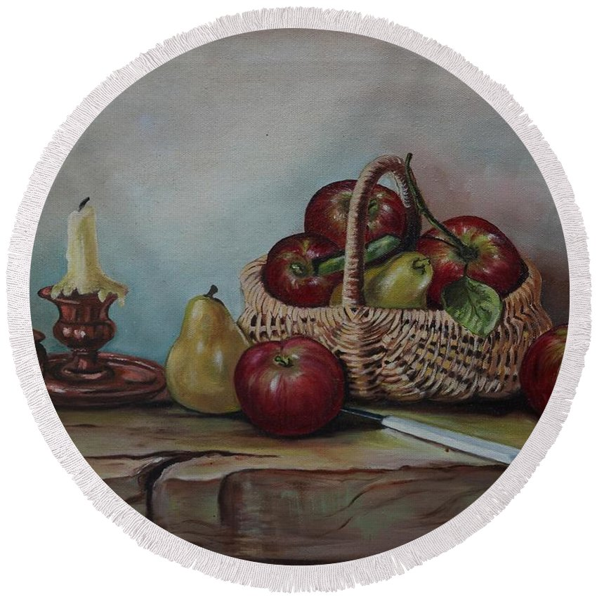 Fruit Basket Round Beach Towel featuring the painting Fruit Basket - Lmj by Ruth Kamenev