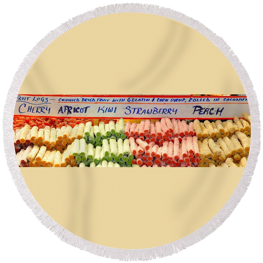 Fruit Logs Round Beach Towel featuring the photograph Fruit Logs by Caroline Reyes-Loughrey