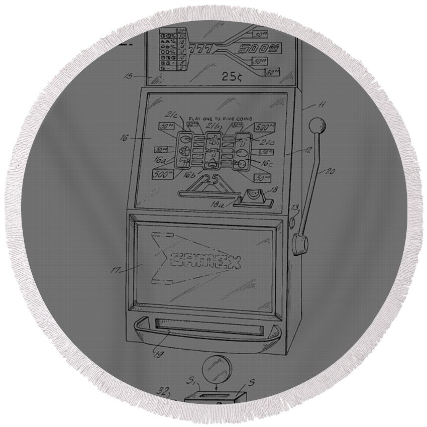 Vintage; Fruit; Machine; 70s; Retro; Coin; Patent; Par; Pub; Casino; Game; Money; Gamble; Wall Art; Patent Illustration; Crafts; Blueprint; Collectable; Patent Drawing; Exclusive Rights; Rights; Drawing; Illustration; Presentation; Vintage; Gift; Diagram; Vintage; Antique; Intellectual Property; Patentee; Patent Application; Home Decor; Living Room Decor; Bedroom Decor; Vintage Patent; Antique; Inventions; Technical Illustration; Grunge; Distress; Parchment; Old; Graphic; Chris Smith Round Beach Towel featuring the photograph Fruit Machine Patent 1978 by Chris Smith