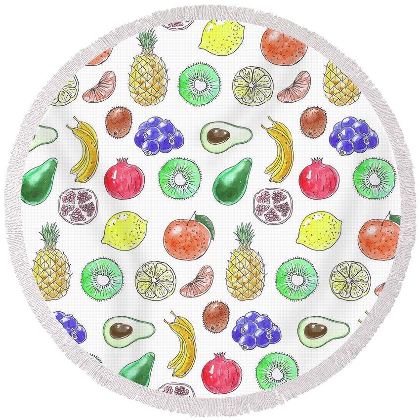Avocado Round Beach Towel featuring the mixed media Fruit Pattern by Katerina Kirilova