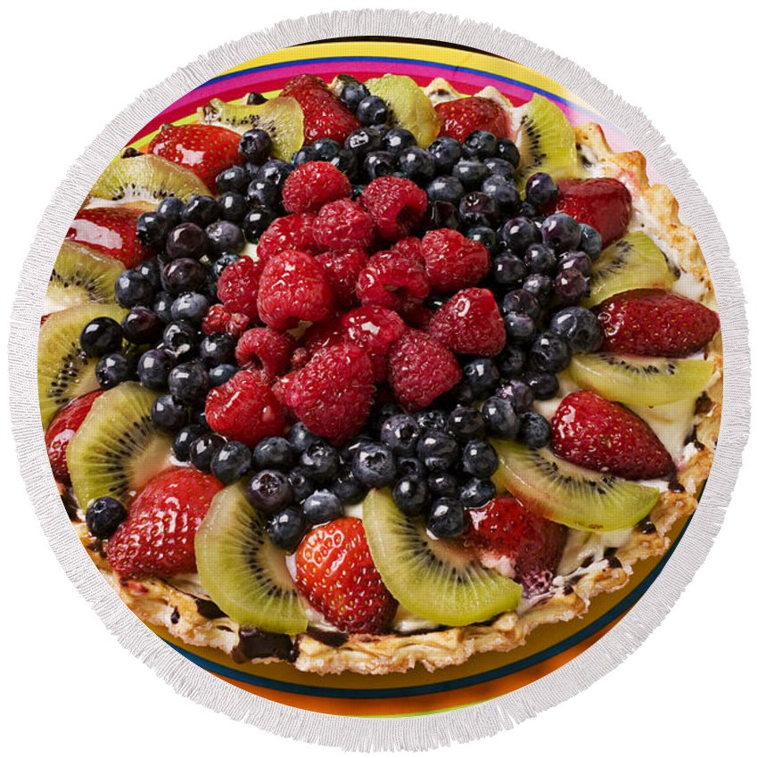 Fruit Round Beach Towel featuring the photograph Fruit Tart Pie by Garry Gay