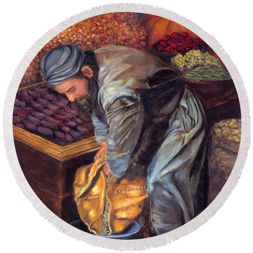 Figurative Painting Round Beach Towel featuring the painting Fruit Vendor by Portraits By NC