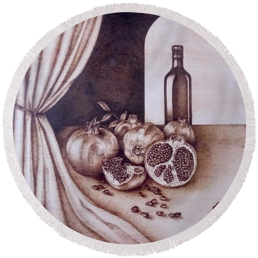 Still Life Round Beach Towel featuring the pyrography Fruits Of Love by Mujgan Agardici