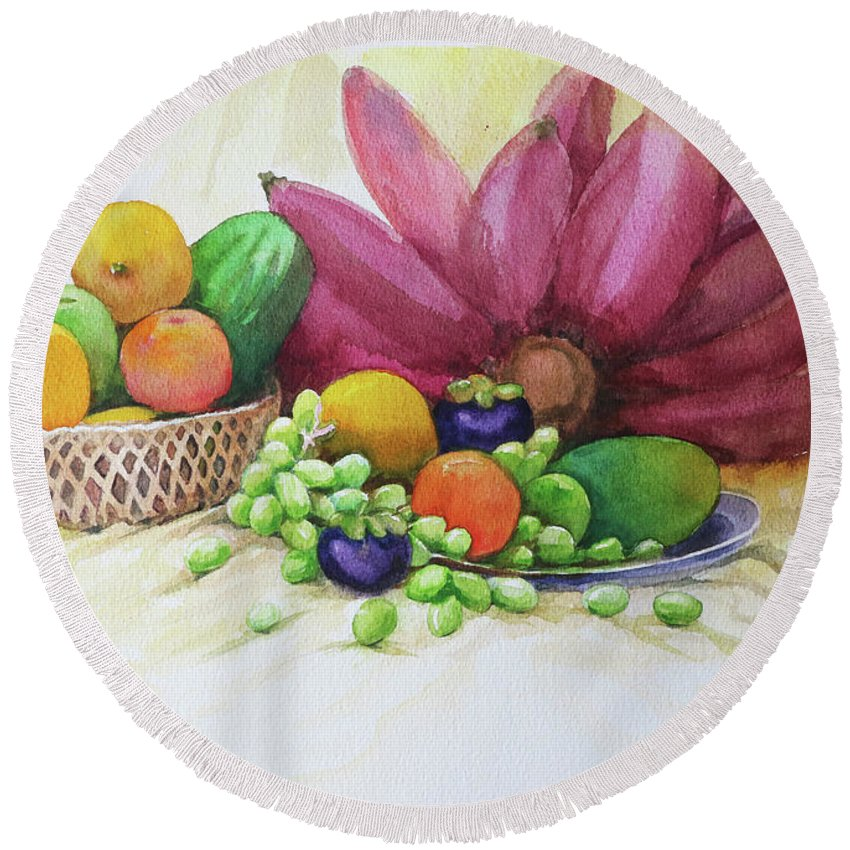 Landscape Round Beach Towel featuring the painting Fruits by Win Min Mg