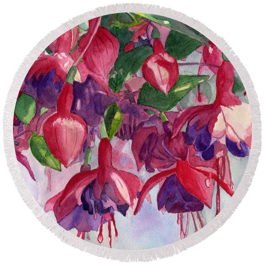 Watercolor Round Beach Towel featuring the painting Fuchsia Frenzy by Lynne Reichhart