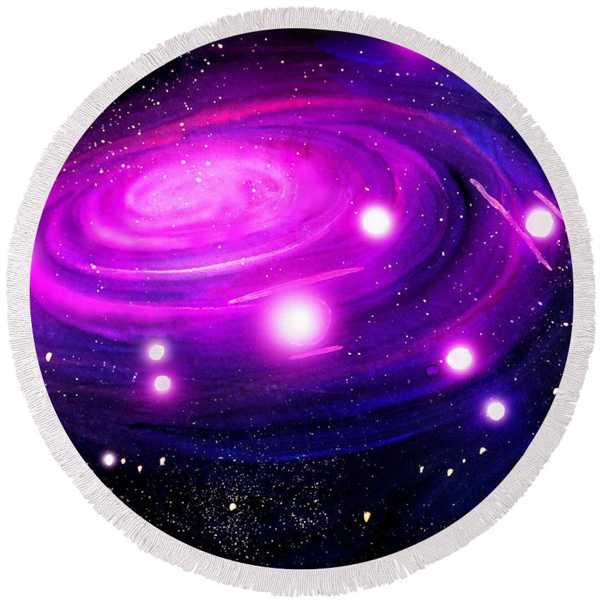 Space Round Beach Towel featuring the painting Fuchsia Pink Galaxy, Bright Stars by Sofia Metal Queen