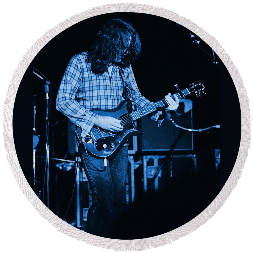 Rory Gallagher Round Beach Towel featuring the photograph Fuel To The Blue Fire by Ben Upham