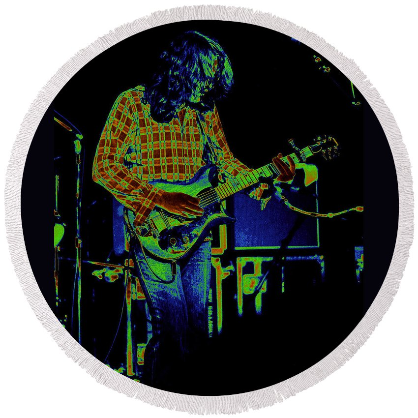 Rory Gallagher Round Beach Towel featuring the photograph Fuel To The Cosmic Fire by Ben Upham