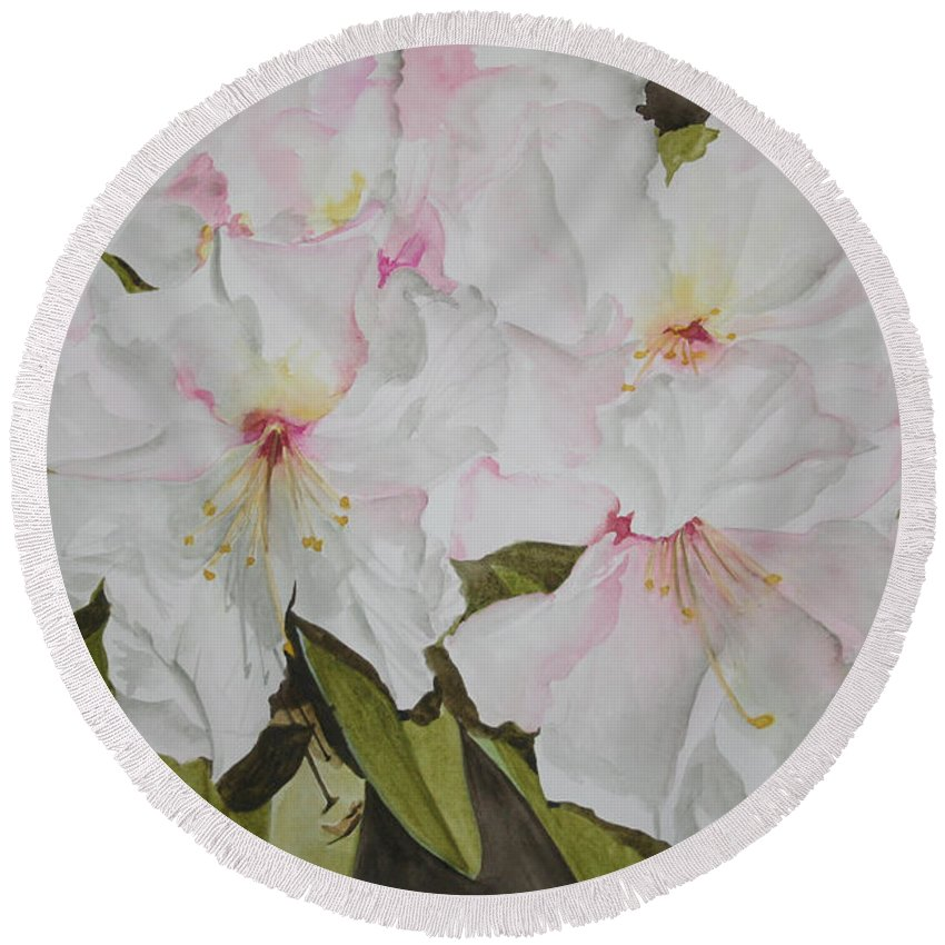 Flowers Round Beach Towel featuring the painting Full Bloom by Jean Blackmer