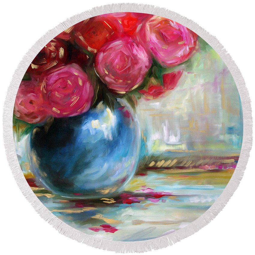 Blooms Round Beach Towel featuring the painting Full Bloom by Mary Sparrow