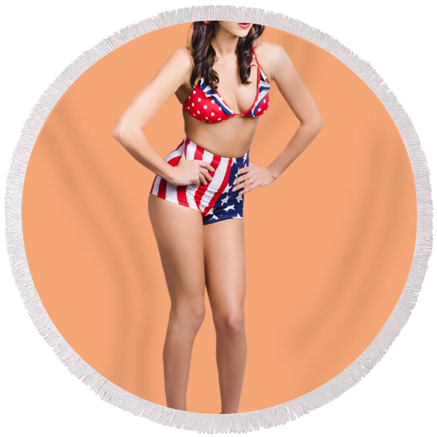 Pinup Round Beach Towel featuring the photograph Full Body Pin-up Girl. American Retro Style by Jorgo Photography - Wall Art Gallery