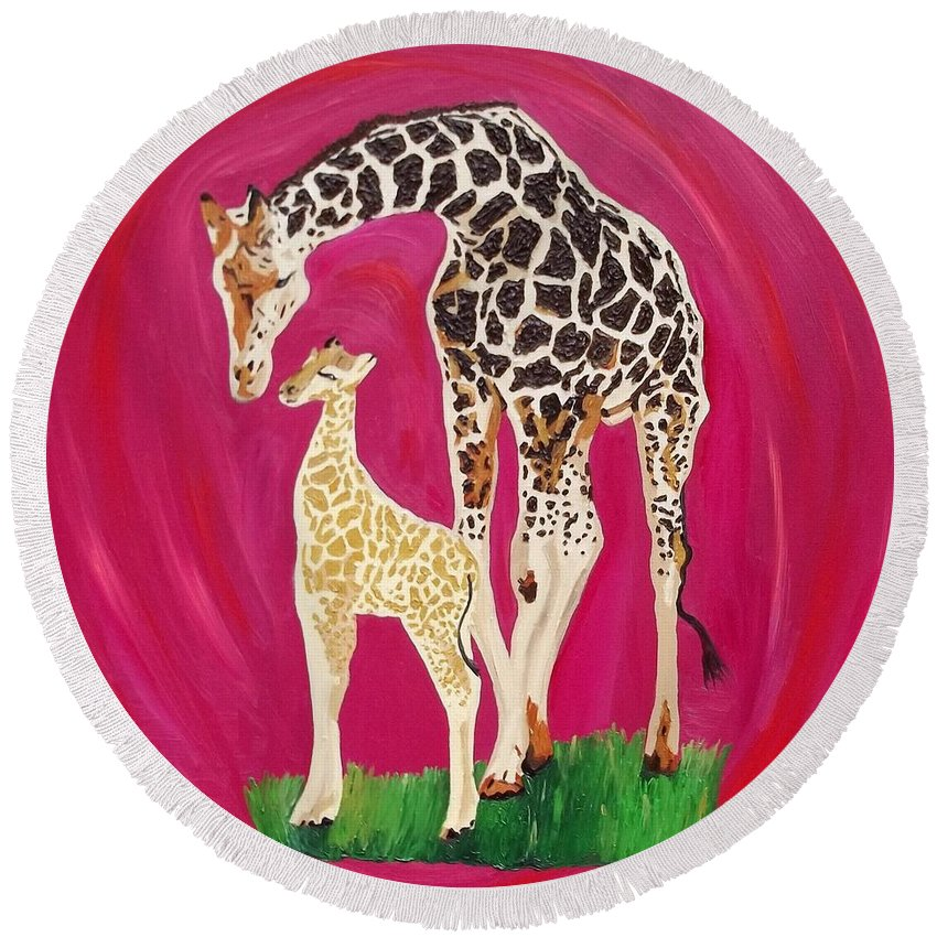 Giraffe Round Beach Towel featuring the painting Full Circle by Amy Pugh