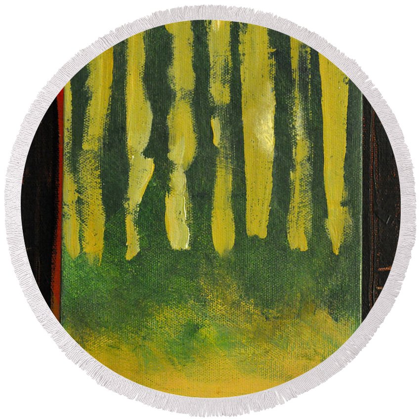 Trees Round Beach Towel featuring the painting Full Moon At Dusk by Tim Nyberg