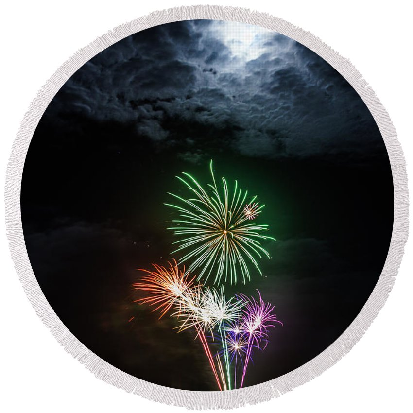 Beautiful Round Beach Towel featuring the photograph Full Moon Fireworks by Silken Photography