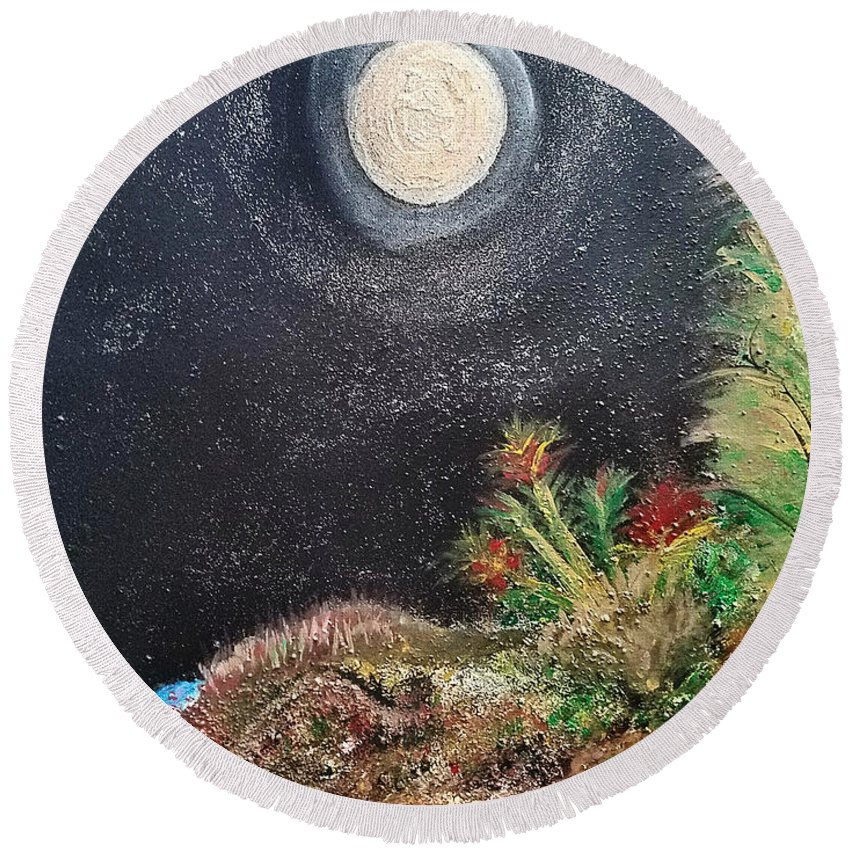 Moon Round Beach Towel featuring the painting Full Moon by Leona Marie